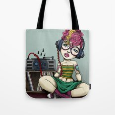 Stereo girl listening to Records Tote Bag