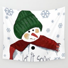 Let's build a snowman, let it snow Wall Tapestry