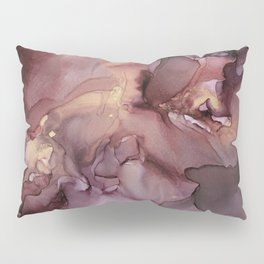 Ink Swirls Painting Lavender Plum Gold Flow Pillow Sham
