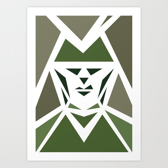 Five Triangle Faces - The Hunter Art Print