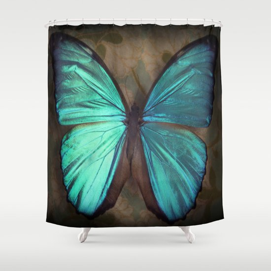 vintage butterfly shower curtain by kunstfabrik
