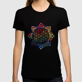 Rainbow Lotus Flower of Life Mandala T-shirt
