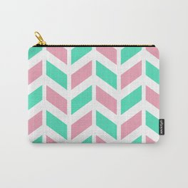 Menthol green, pink and white chevron pattern Carry-All Pouch