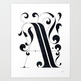 """Drop cap """"A"""" Art Print"""