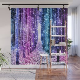 Magical Forest : Aqua Periwinkle Purple Pink Ombre Sparkle Wall Mural