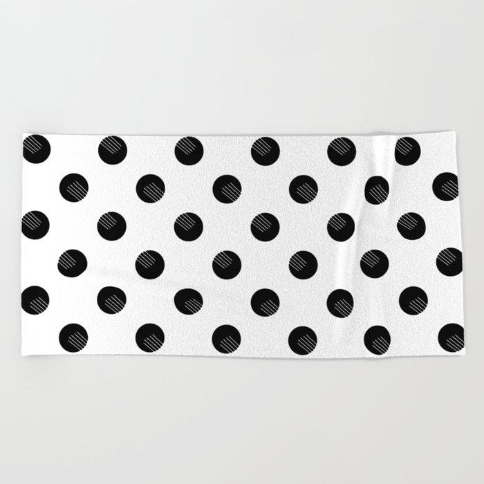 Black dots white lines Beach Towel