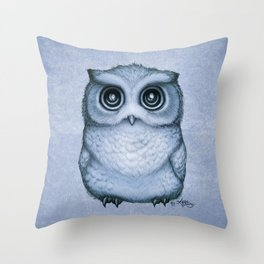 """""""The Little Owl"""" by Amber Marine ~ (Blueberry Version) Graphite & Ink Illustration, (Copyright 2016) Throw Pillow"""