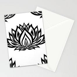 Black and White Lotus Pattern Stationery Cards