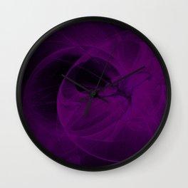 Cosmic Fractal dark black and purple Wall Clock