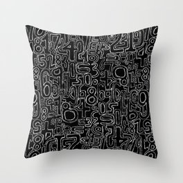 Sketched Numbers Throw Pillow