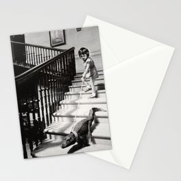 Little Girl with Pet Alligator on a leash black and white photograph / black and white photography Stationery Cards