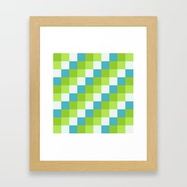 Apples and Pears - Pixelated Pattern with blues and green  Framed Art Print