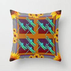 Grey-Brown Abstract Blue Dragon Flights Sunflowers  Throw Pillow