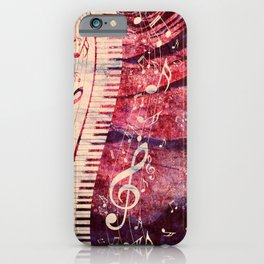 Illustration of a piano keys with musical notes and red rose iPhone Case