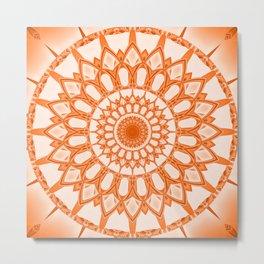 Flower Mandala serie orange Metal Print