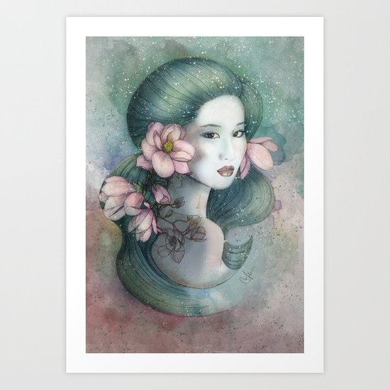 Magnolias in this dusk Art Print