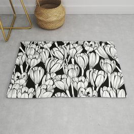 Monochrome seamless black floral vector pattern. Crocus flowers on a black background. Rug