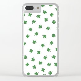 Green Shamrocks White Background Clear iPhone Case
