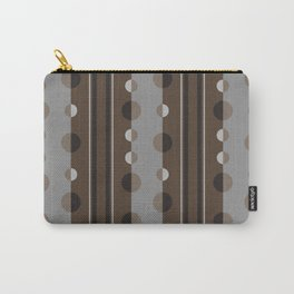 Circles and Stripes in Brown and Gray Carry-All Pouch