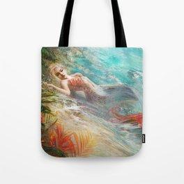 Mermaid sunbathing on the beach fantasy Tote Bag