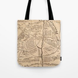 Vintage Map of The Battle of Bull Run (1861) Tote Bag