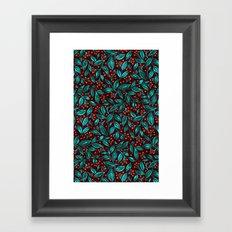 ORANGE BERRIES TURQUOISE LEAVES Framed Art Print
