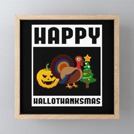 Hallothanksmas Halloween Christmas Gift Framed Mini Art Print