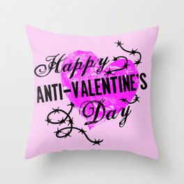 Happy Anti-Valentine's Day Pink Heart Throw Pillow