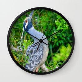 Yellow Crowned Night Heron Wall Clock