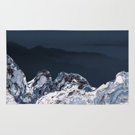 BLUE MARBLED MOUNTAINS Rug