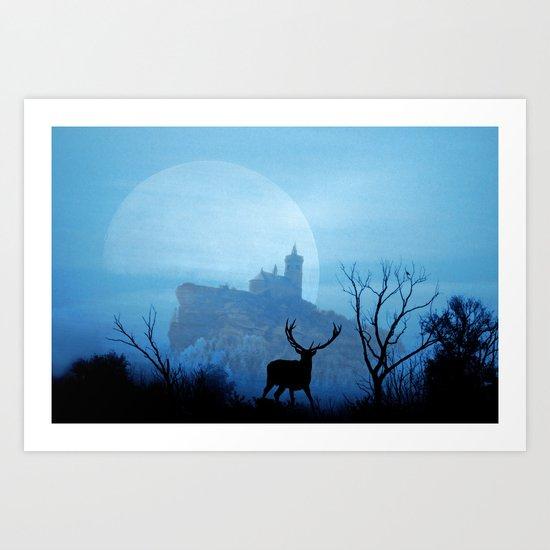 Stag moon Art Print