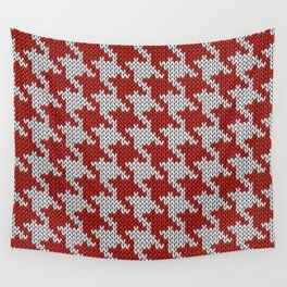 Classic houndstooth knitted Red & White Wall Tapestry
