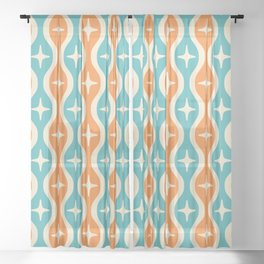 Mid century Modern Bulbous Star Pattern Orange and Turquoise Sheer Curtain