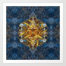 Decorative Gemstone Sacred Geometry Flower of life Art Print