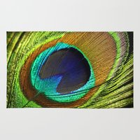 peacock feather Area & Throw Rugs featuring peacock feather by mark ashkenazi