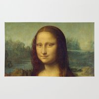 mona lisa Area & Throw Rugs featuring Mona Lisa by TilenHrovatic