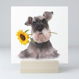 Schnauzer Sun Flower Mini Art Print