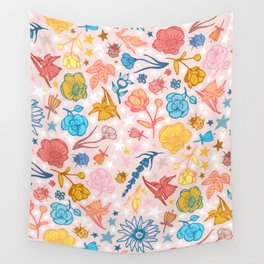 Seeing Stars - a Whimsical Garden Floral Wall Tapestry