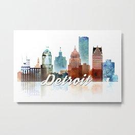Detroit Skyline Watercolor, Michigan Cityscape Art Metal Print