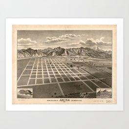 Bird's Eye View of Azusa, California (1887) Art Print