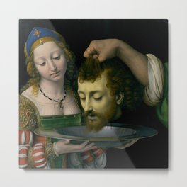 Salome with the Head of Saint John the Baptist - Andrea Solario Metal Print