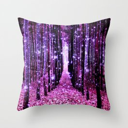 Magical Forest Pink & Purple Throw Pillow