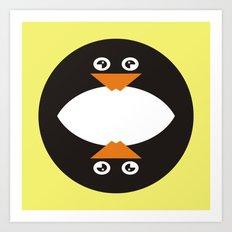 CVAn0041 Whimsical Circle Penguin Art Print