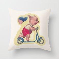 Cerdito en patinete Throw Pillow