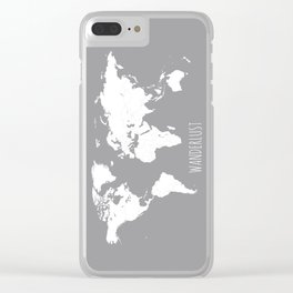 World Map Wanderlust Modern Travel Map in Gray With White Countries Clear iPhone Case