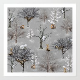 Owls and Foxes in Snowy Trees Art Print