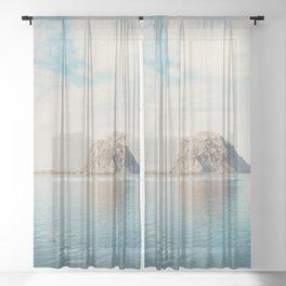 Morro Rock photograph Sheer Curtain