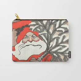 Christmas Pudding And Vintage Santa Vector Carry-All Pouch