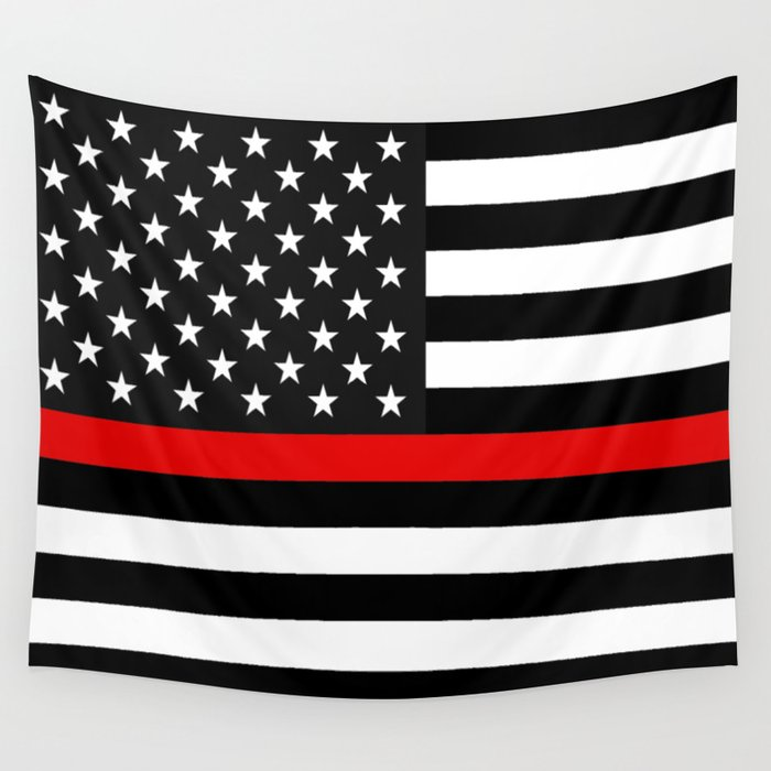 Red Line American Flag >> Thin Red Line American Flag Wall Tapestry By Jerrylambert