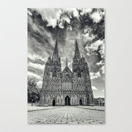 Lichfield Cathedral mono Canvas Print